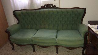 Tresillo. Sofá 3 plazas + 1 sillón + 1 sillón