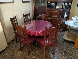 Mesa redonda y 6 sillas juego