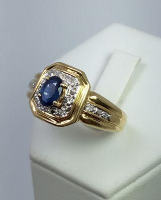 Anillo de Oro 18kt, Zafiro y Diamantes