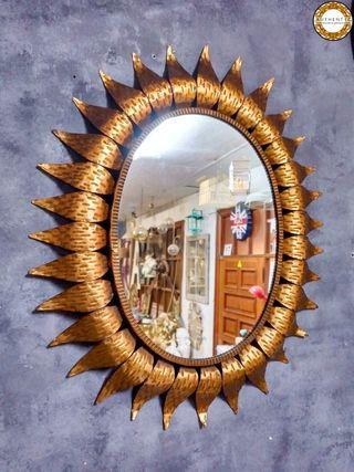 Espejo Sol Vintage Pan Oro 78cm Alto Metalico