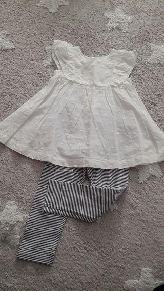 conjunto blusa y leggins niña 1- 2 años