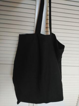 Tote bag lino negro, para playa o ciudad