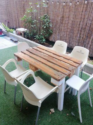 mueble terraza jardin palets cesped