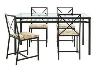 Mesa, sillas y estanteria forja y cristal