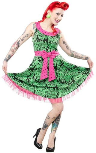SOURPUSS Vestido Pin Up Retro Monstruo Verde