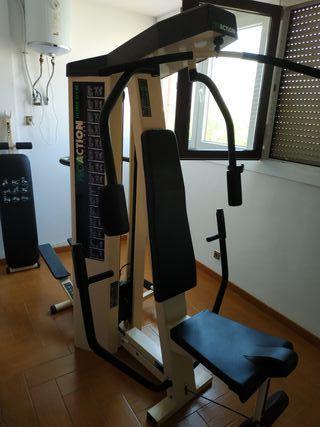 Gimnasio BH con cinta de correr, banco y pesas