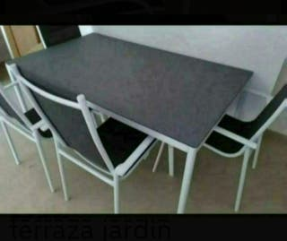 HOY: Mesa sillas terraza jardín textilene nuevo. P