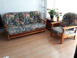 conjunto sofá y sillón y mesa Tv