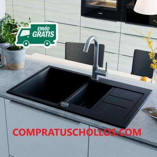 Fregadero doble de cocina de granito negro