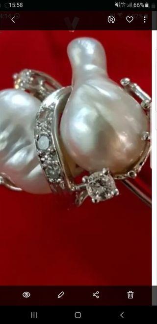 anillo, diamantes, perlas