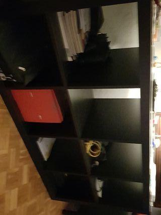 Estanteria mueble negro madera
