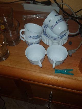 juego de 6 tazas y platos