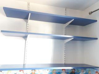 Estantería 3 baldas madera azul