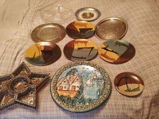 Lote 12 Platos Decorativos y Bandejas