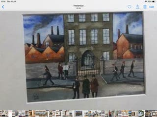 After L S Lowry watercolour painting