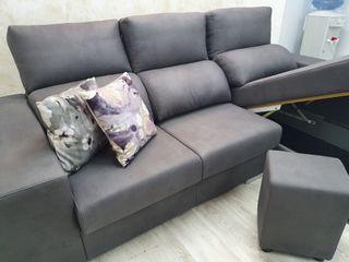Sofa chaselongue moderno con puff y arcon