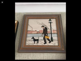 Oil painting on canvas L S Lowry 11in 11in