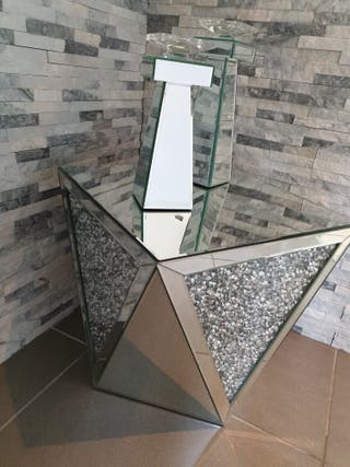Glass side lamp table