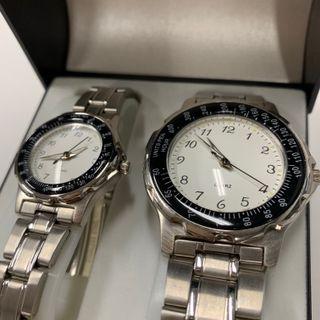 Set de relojes de pulsera Hombre- Mujer Acero Inox