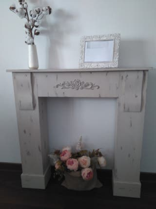 Frente chimenea madera decorativa