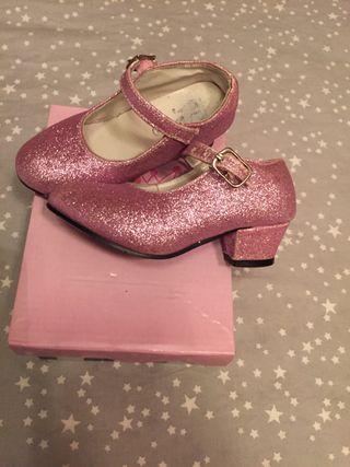 Zapatos tacón rosa purpurina talla 25