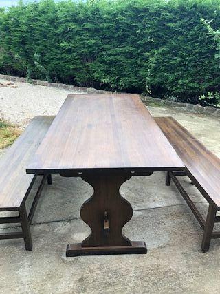 Mesa y bancos de madera , mesa 2m.x90cm