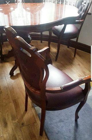 Mesa de madera stil italiano con 6 sillas impecabl