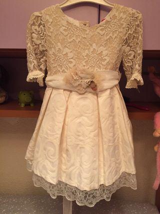 Vestido celebración 4 años color blanco roto