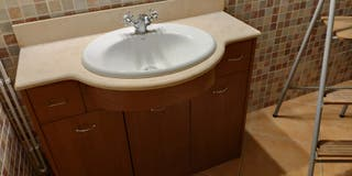 mueble baño con lavabo roca