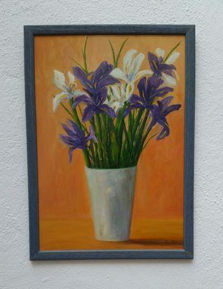 Pintura jarrón con flores