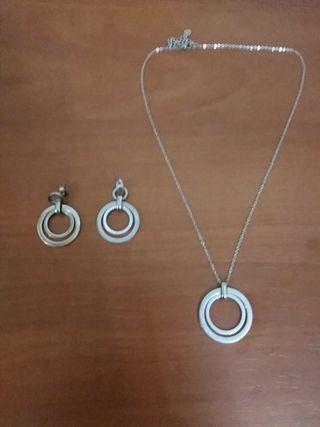 Set pendientes y collar de acero