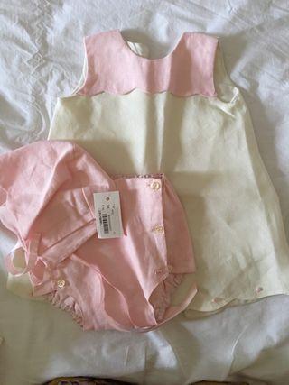 Faldón recién nacido rosa y blanco