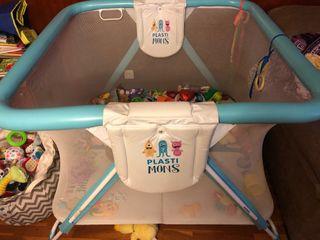 Parque gemelar bebés Plastimyr azul