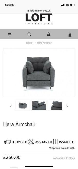 Dark Grey Armchair - 1 year old