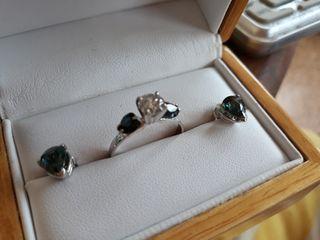 Diamante y Ceylon Sapphiro . Anillo y aretes