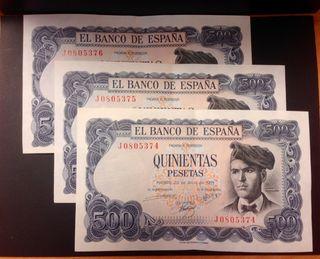 3 billetes correlativos de 500 pesetas 1971
