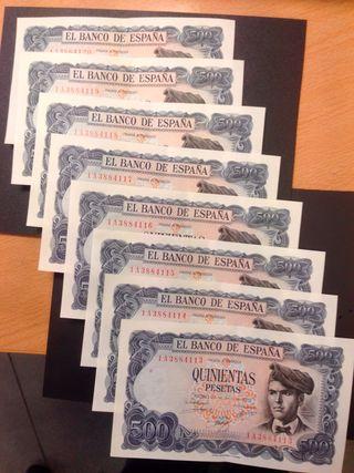 8 Billetes corekativos 500 Pesetas