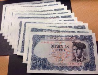 11 billetes correlativos 500 Pesetas 1971