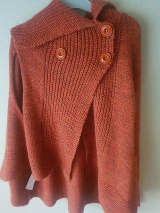 poncho lana botones