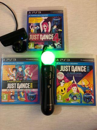 Mando Move Motion + Camara + Juegos just dance ps3