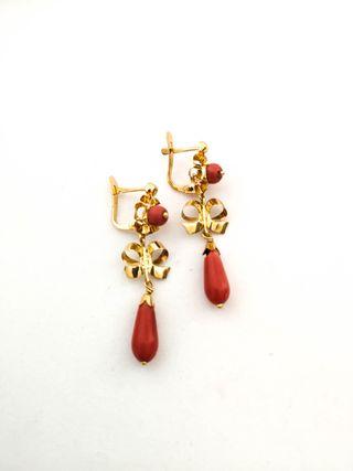 Pendientes Vintage Oro 18k Y Coral