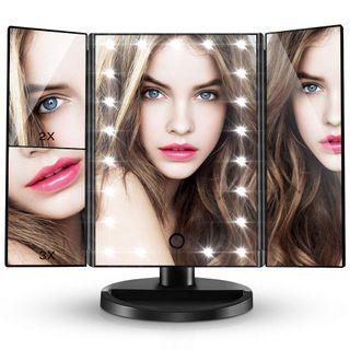 Espejo de Maquillaje Luz LED USB con Aumento