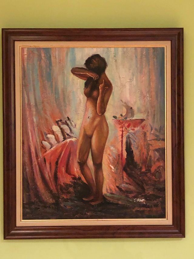 Cuadro De Pintura Al óleo De Mujer Desnuda De Segunda Mano Por 50
