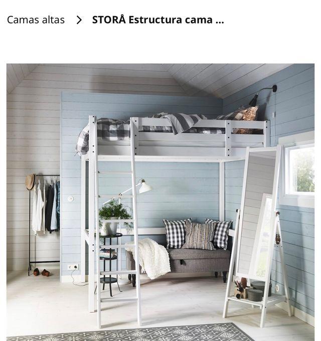 Estructura cama alta seminueva 140 cmX200cm