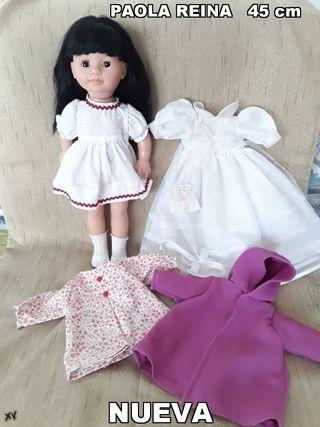 muñeca PAOLA REINA NUEVA 45 cm con ropa