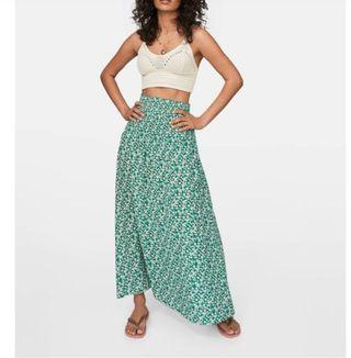 falda larga flores verde
