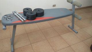 banco de abdominales y pesas + mancuernas
