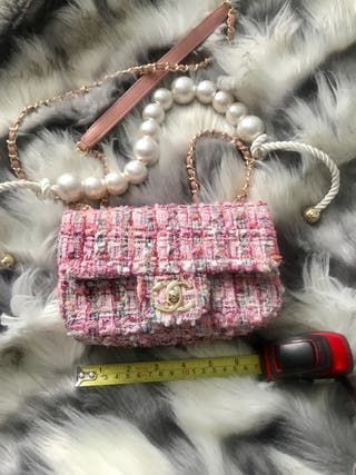 Chanel tweed pink bag with pearl detail