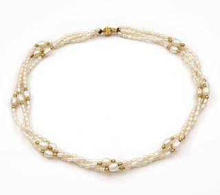 Collar de Perlas Cultivadas Naturales y Oro 18k