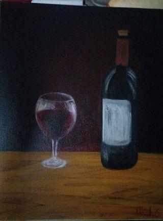 Lienzo 3D botella y copa de vino